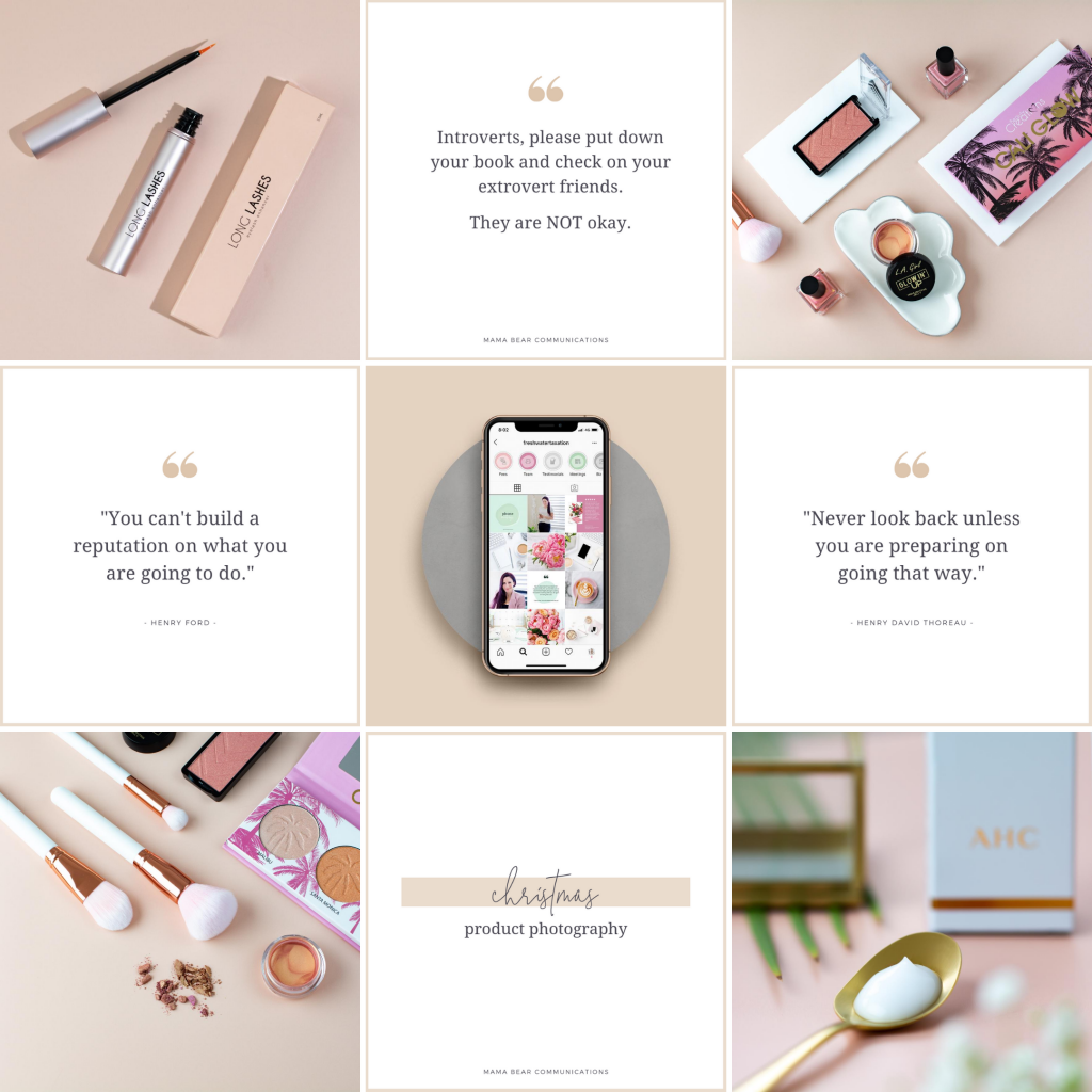 Instagram grid layout with checkerboard theme